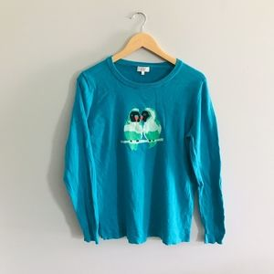 Crown & Ivy Fitted Teal Parrot Sweater